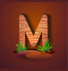 wooden letter m decorated with grass vector image