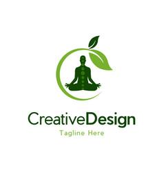 Yoga leaf chakra naturally creative business logo vector