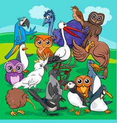 birds group cartoon vector image