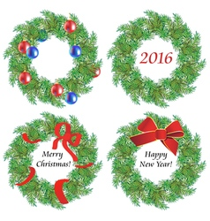 Christmas wreaths made of fir branches vector image vector image