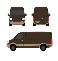 Delivery van brown three sides vector image