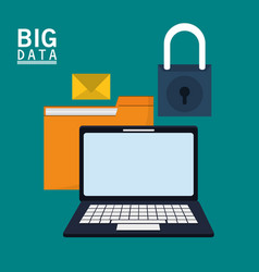 laptop folder file email message padlock vector image