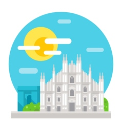 Milan cathedral flat design landmark vector image vector image