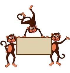 monkey cartoon with blank board vector image