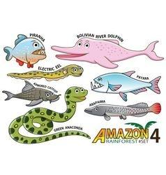 Set of Cute cartoon Animals in the Amazon vector image vector image