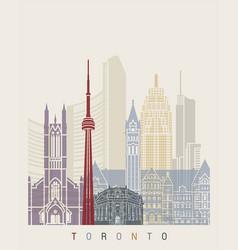 toronto skyline poster vector image vector image