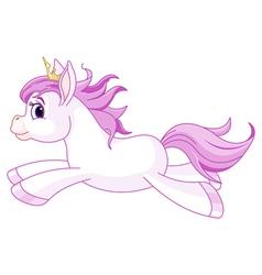 Cute horse princess running vector image vector image