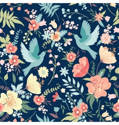 Cute seamless pattern with birds and flowers vector image