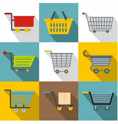 trolley icons set flat style vector image