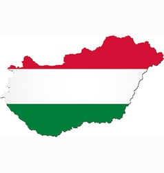 Map of Hungary with national flag vector image