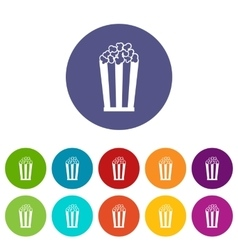 Popcorn in striped bucket set icons vector image