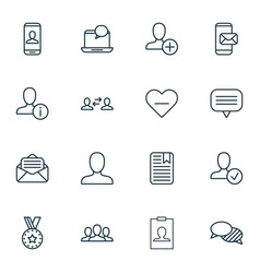 set of 16 social network icons includes business vector image vector image