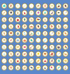 100 interior icons set cartoon vector image