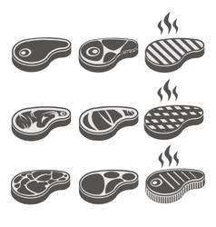 Beef meat steak icons set vector image
