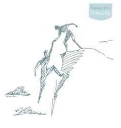 Draw helping man climb teamwork partnership sketch vector image vector image