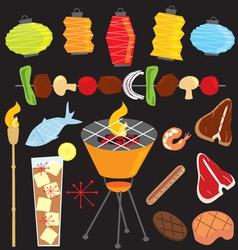 evening retro bbq party icons vector image vector image