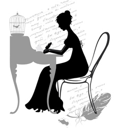 Girl writes a letter vector image