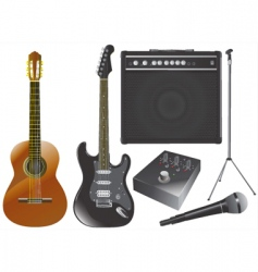 guitar and music equipments vector image