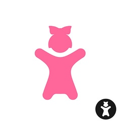 Happy little girl icon Pink kid silhouette with vector image vector image
