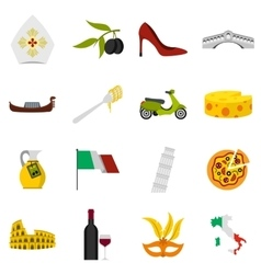 Italy icons set flat style vector image