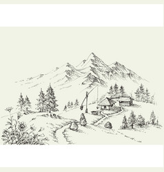 Pastoral site in the mountains pure alpine vector