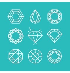 set of line diamond icons and signs vector image