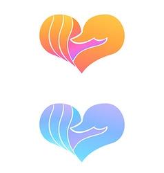 Set of swan logo design template swan in heart vector