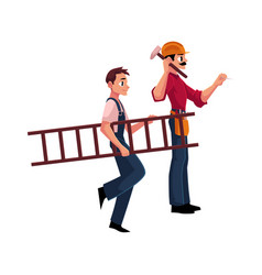 Two construction workers - one driving nail vector