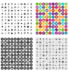 100 professional career icons set variant vector