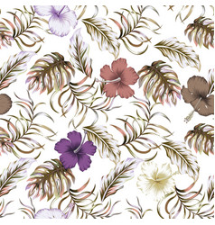 abstract color floral seamless pattern white vector image