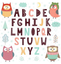 alphabet with cute owls for children educational vector image