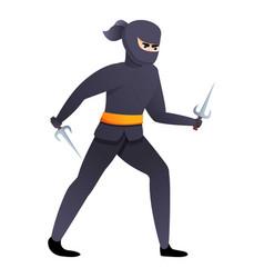 Asian ninja with sai weapon icon cartoon style vector