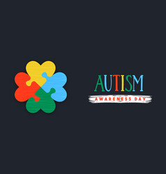 Autism awareness day love puzzle game banner vector