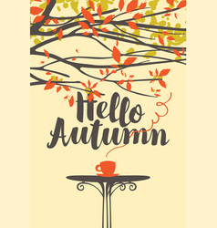 Autumn banner with a cup of hot drink vector