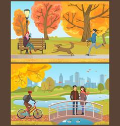 Autumn park man with dog or couple on bridge vector