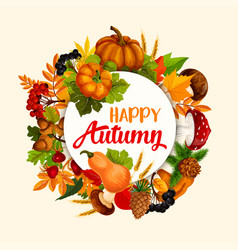Autumn season poster design with leaf and pumpkin vector