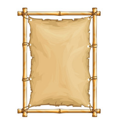 bamboo frame with old torn vector image