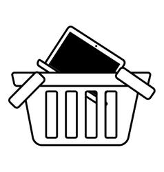 Basket buy online laptop network outline vector