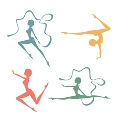 Beautiful silhouettes of gymnastic women vector image