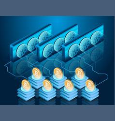 Bitcoin mining process server farm blockchain vector
