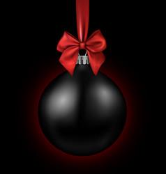 black card with christmas ball vector image