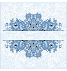 Blue colour floral ornamental template with place vector
