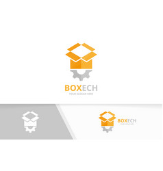 Box and gear logo combination package and vector