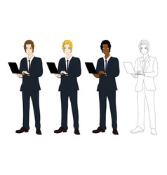 Business man with laptop vector
