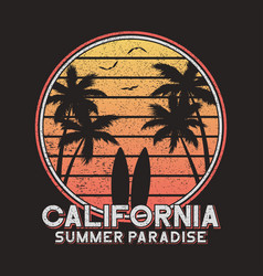 california slogan typography for design clothes vector image