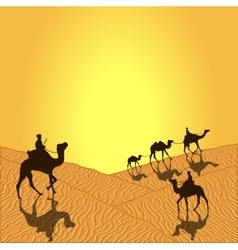 Caravan with camels vector