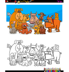 cats and dogs characters coloring book vector image