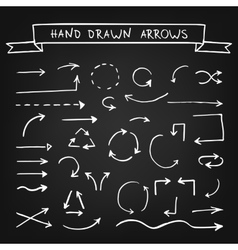 Chalk hand drawn arrows vector image