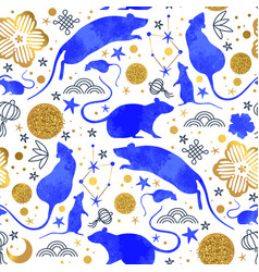 chinese new year blue watercolor rat background vector image