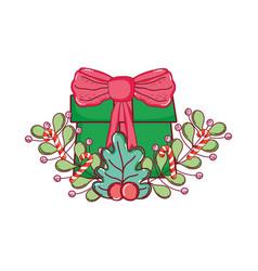 christmas gift box with wreath vector image